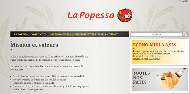 Valeurs du restaurant Popessa Canada