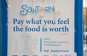 restaurant grec le Santorini pay what you feel