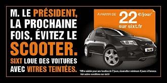 Publicité Sixt qui utilise le buzz atour de Hollande et Gayet