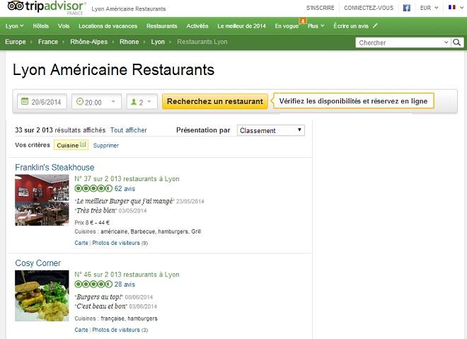 Sites opinion restaurants TripAdvisor