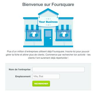 Créer une page sur Foursquare