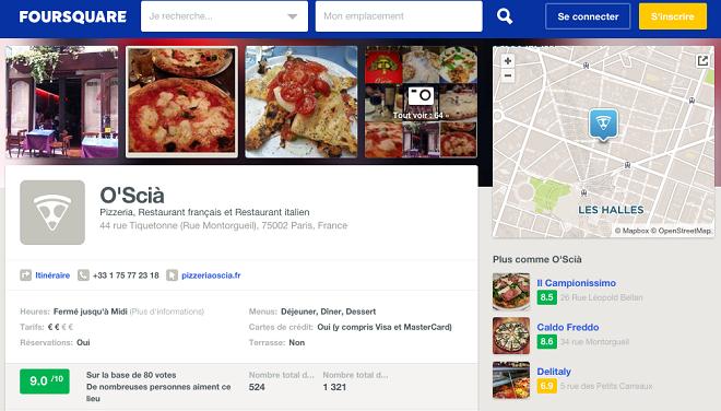 Pizzeria sur Foursquare