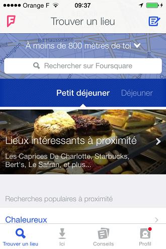 Trouver un restaurant sur Foursquare
