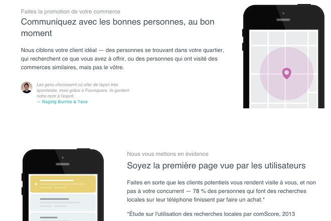 Publicité sur Foursquare