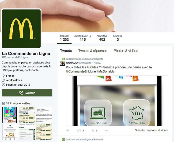 Commande en ligne MacDonalds