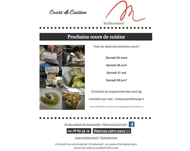 Newsletter pour restaurant