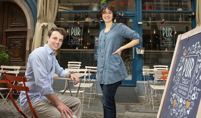 """Vincent Viaud et Heloise Chalvignac ont cree un nouveau concept de restauration rapide """"PUR et Caetera"""""""