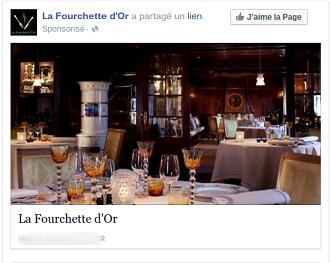 lien sponsorisé facebook