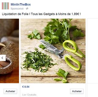 offre sponsorisée facebook