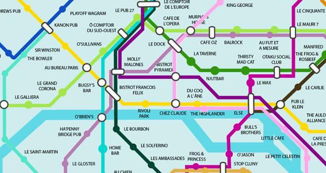 Carte métro bars paris