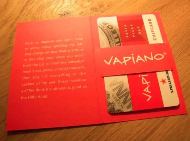 Carte paiement commande Vapiano