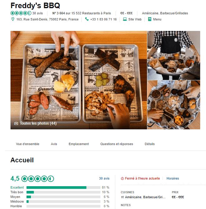 avis tripadvisor restaurant paris