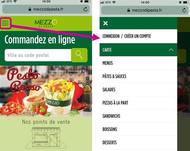 menu hamburger sur site responsive